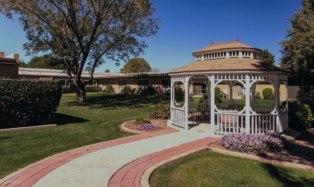 walkway with garden gazebo at Sun Valley Lodge