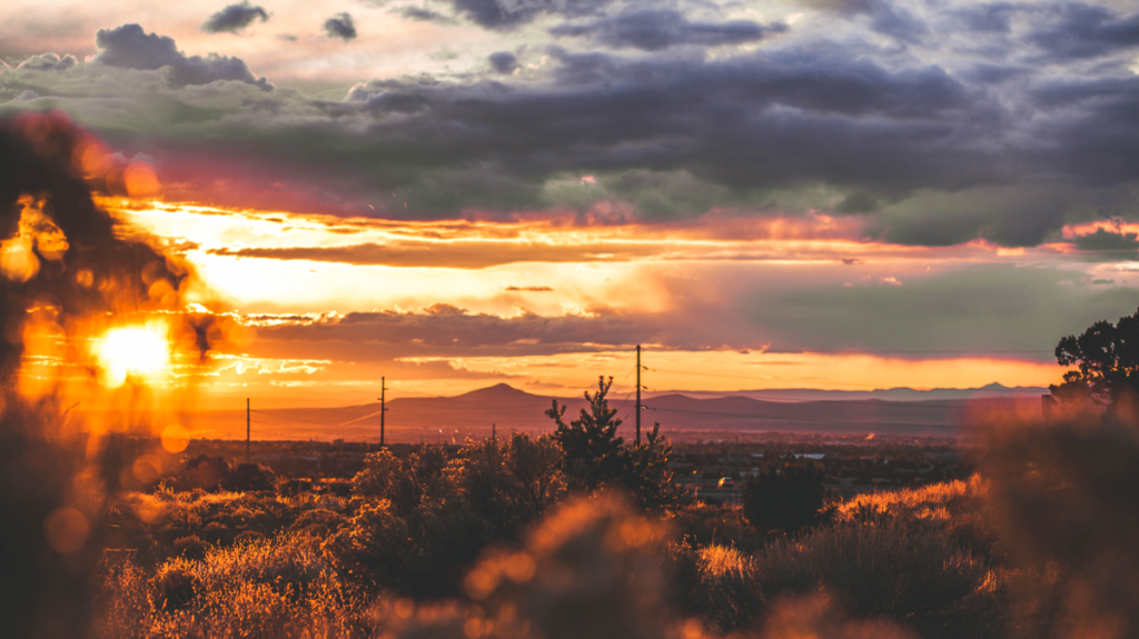 landscape photo of new mexico during sunset
